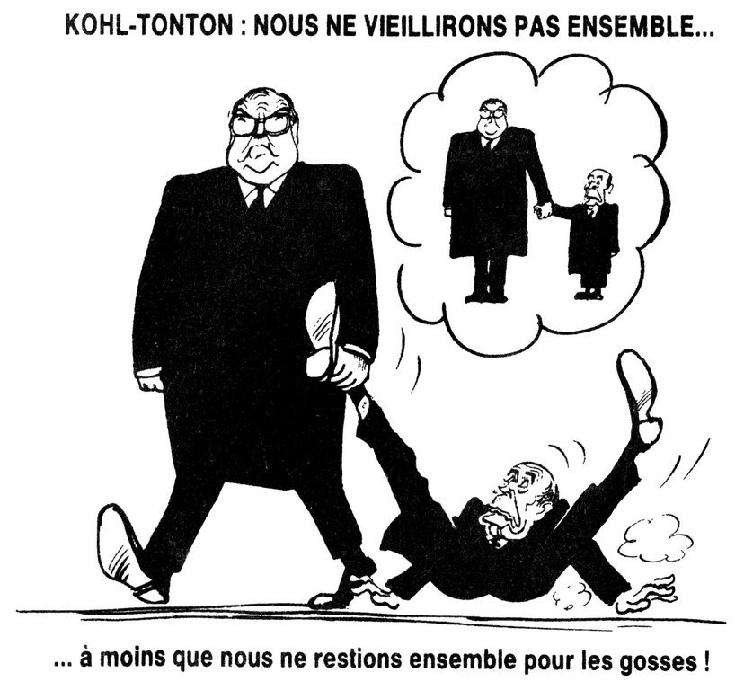 Cartoon by Cabu on the power relationship between Kohl and Mitterrand (21 February 1990)