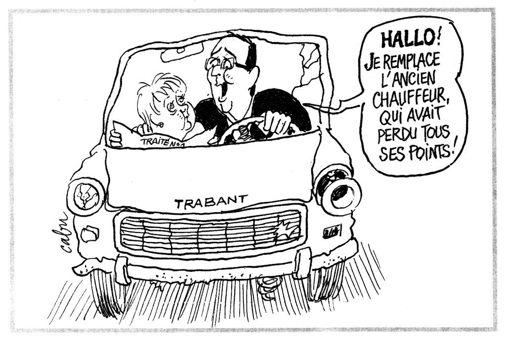 Cartoon by Cabu on the new Franco-German duo and European issues (9 May 2012)