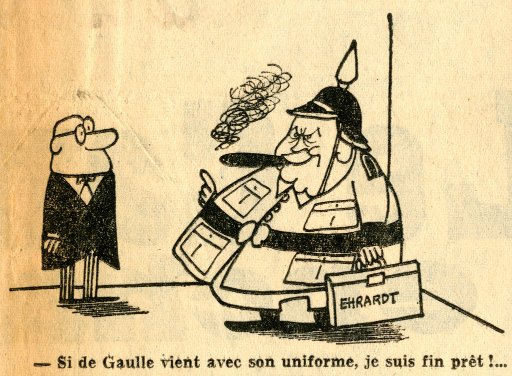 Cartoon by Lap on tensions between Charles de Gaulle and Ludwig Erhard (1 July 1964)