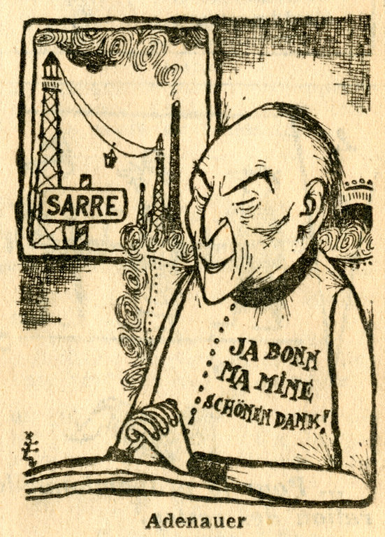 Cartoon by César on the question of the Saar (2 November 1955)