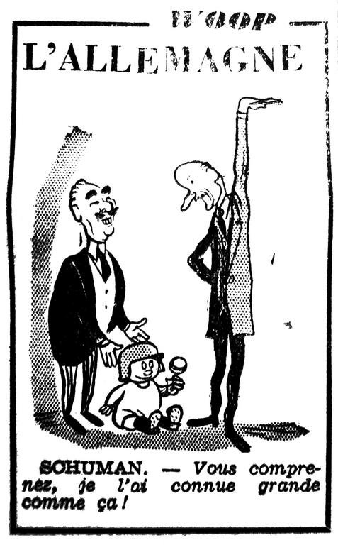 Cartoon by Woop on French fears of German rearmament (19 September 1951)