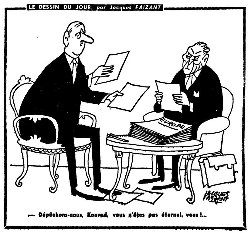 Cartoon by Faizant on relations between de Gaulle and Adenauer (6 July 1962)
