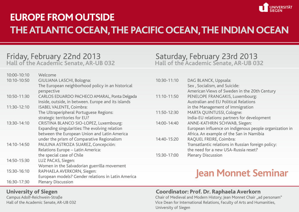 Programme du séminaire «Europe from outside - The Atlantic Ocean, the Pacific Ocean, the Indian Ocean»