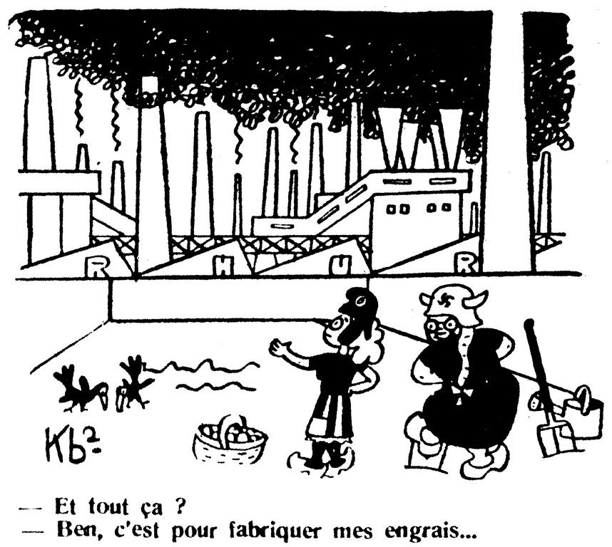 Cartoon by Kb2 on Germany's industrial power (8 August 1945)