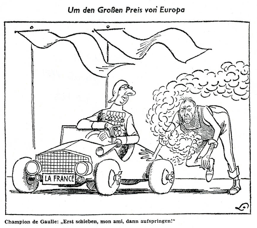 Caricature de Lang sur la France et l'Allemagne face à la construction de l'Europe (24 mai 1961)