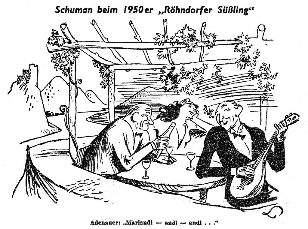 Cartoon by Lang on Robert Schuman's trip to the FRG (14 January 1950)
