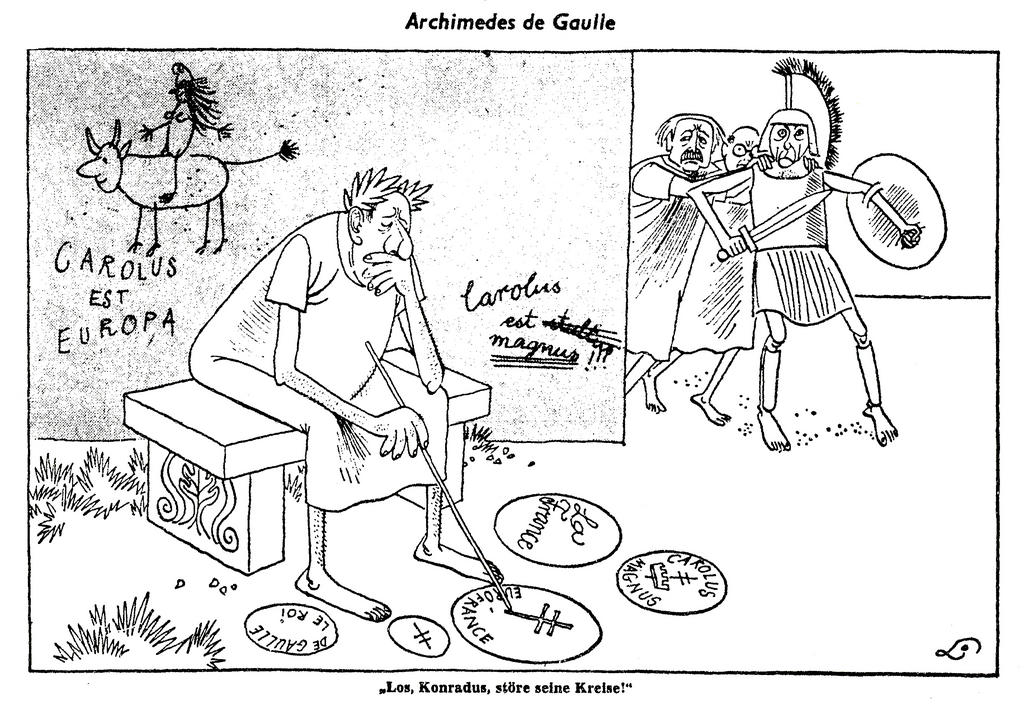 Cartoon by Lang on the Franco-German duo and the question of British accession to the Common Market (19 January 1963)