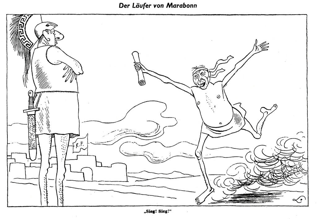 Cartoon by Lang on the Bundestag's ratification of the Élysée Treaty (18 May 1963)