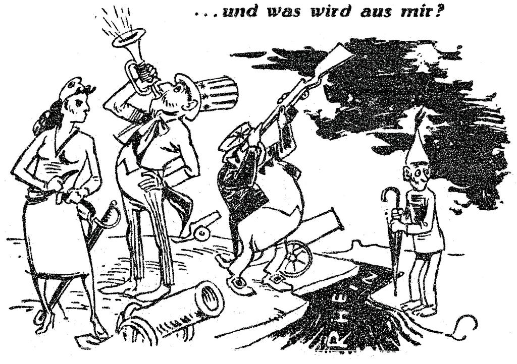 Cartoon by Lang on the question of German rearmament and Western European defence (9 October 1948)