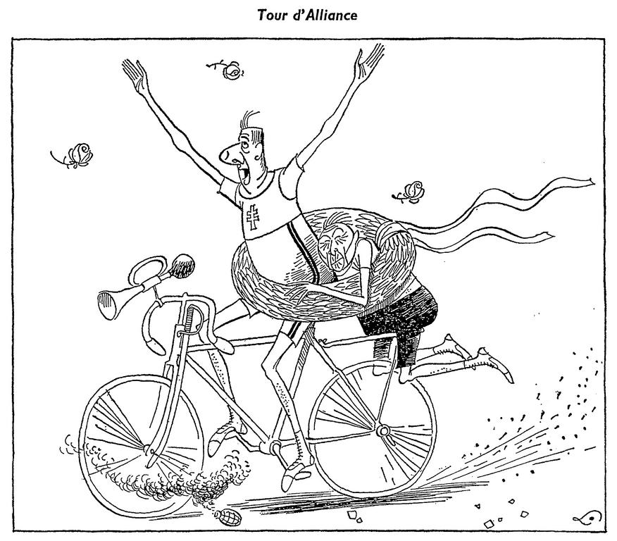 Cartoon by Lang on Adenauer's official visit to France (7 July 1962)