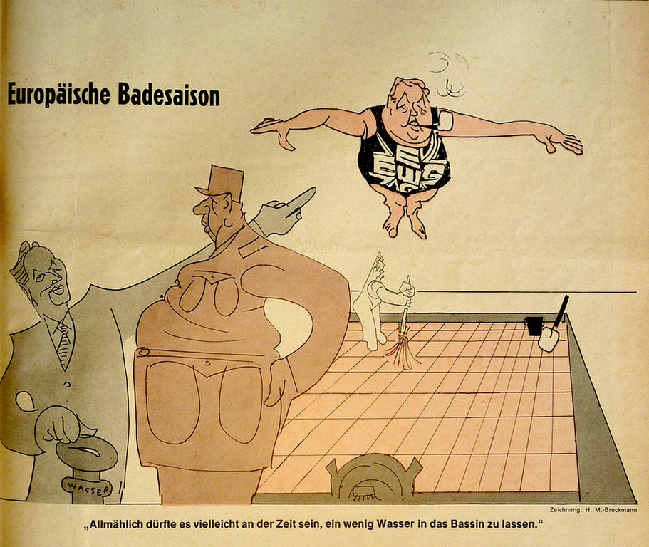 Cartoon by Brockmann on the Franco-German position on British accession to the EEC (3 June 1967)
