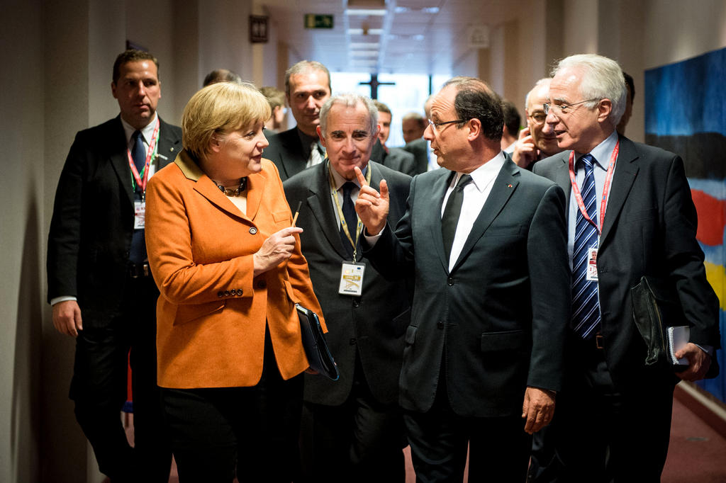 Angela Merkel and François Hollande at the European Council in Brussels (18 October 2012)