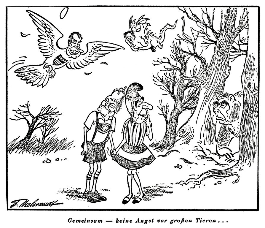 Cartoon by Behrendt on the Franco-German duo on the international stage (24 January 1973)