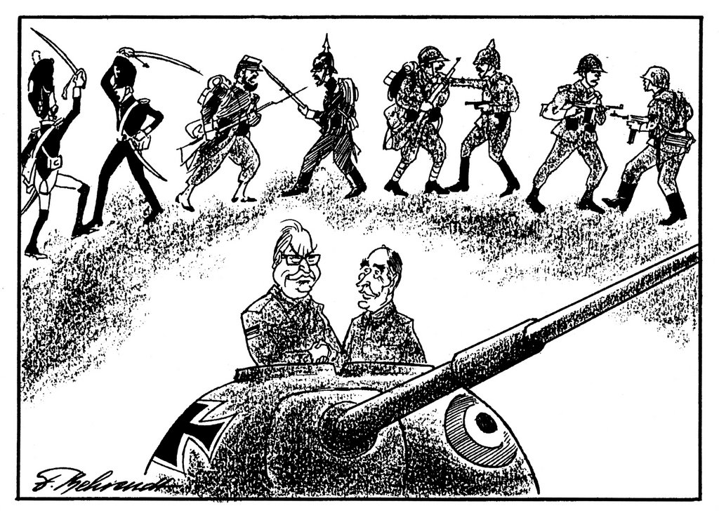 Cartoon by Behrendt on the plan for a Franco-German Brigade (27 June 1987)
