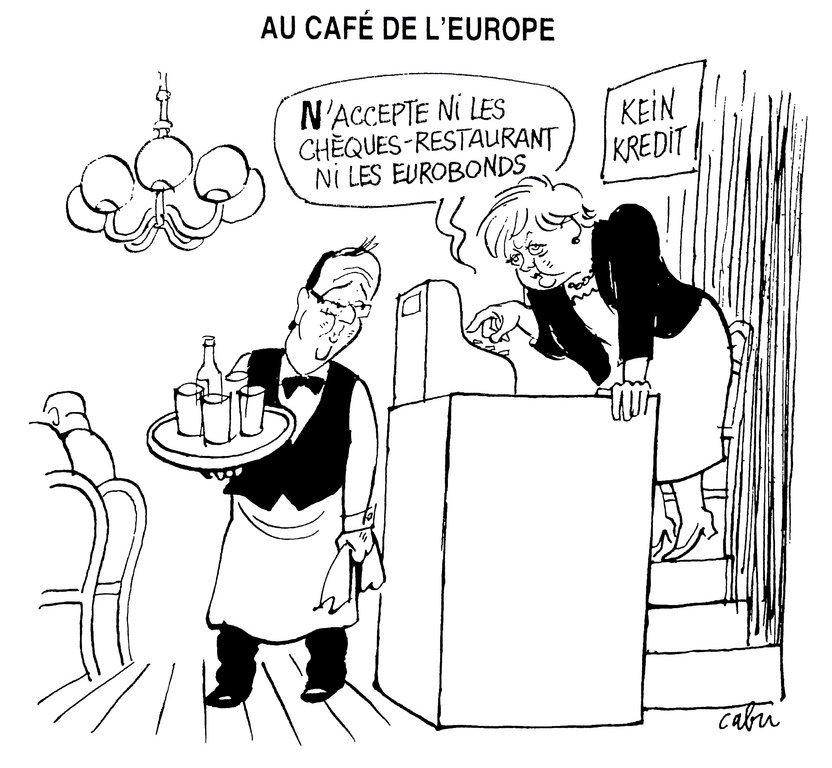 Cartoon by Cabu on the opposing views in France and Germany over the question of eurobonds (27 June 2012)