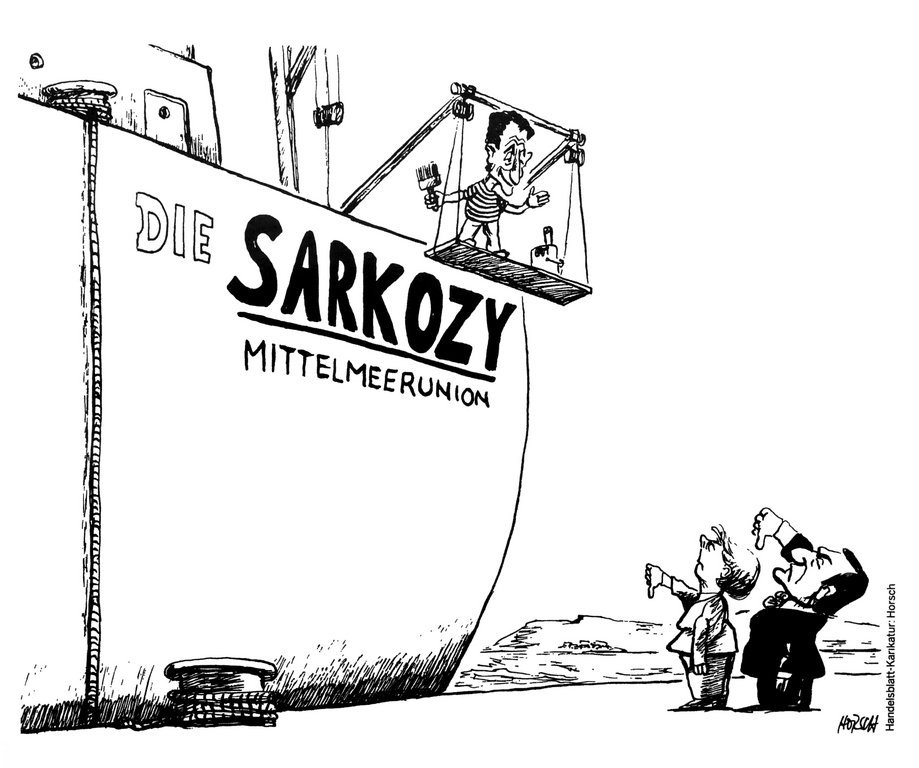 Cartoon by Horsch on the French plan for a Union for the Mediterranean (14 July 2008)