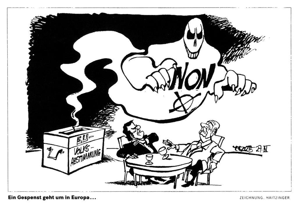 Cartoon by Haitzinger on the possibility of a negative outcome in the referendum on the European Constitutional Treaty (27 April 2005)