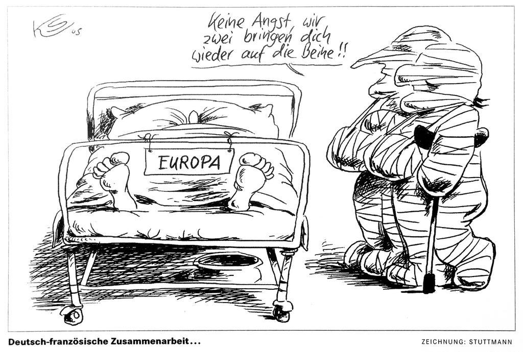 Cartoon by Stuttmann on the Franco-German duo and European integration (4 June 2005)