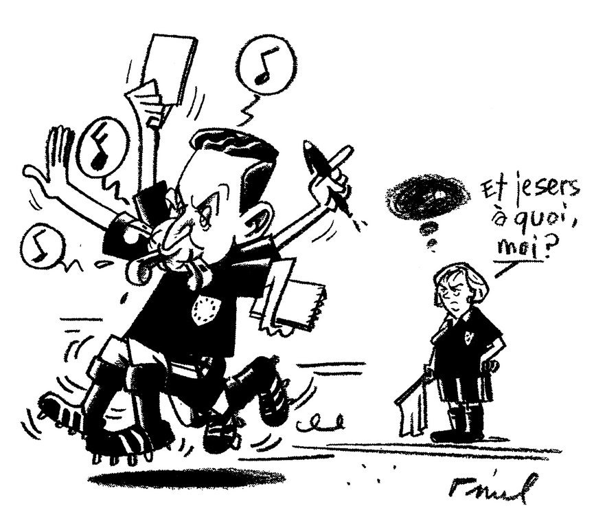 Cartoon by Pinel on the political activism of French President Nicolas Sarkozy (24 October 2008)