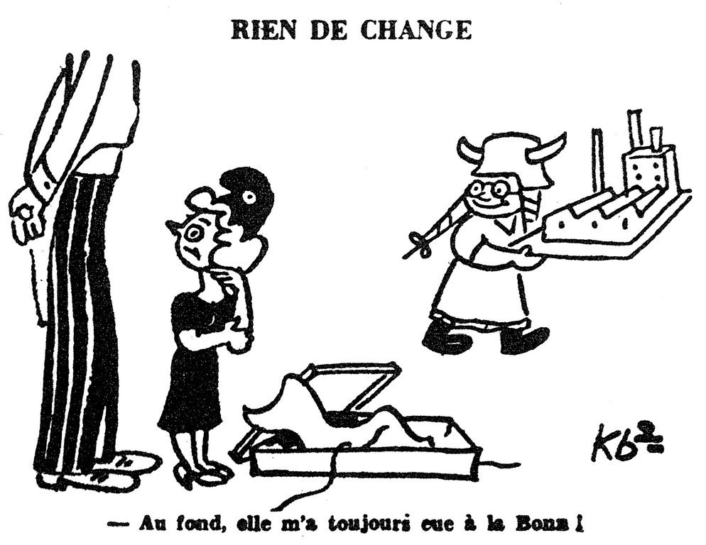 Cartoon by Kb2 on the dangers of a resurgence of German industrial power (16 November 1949)