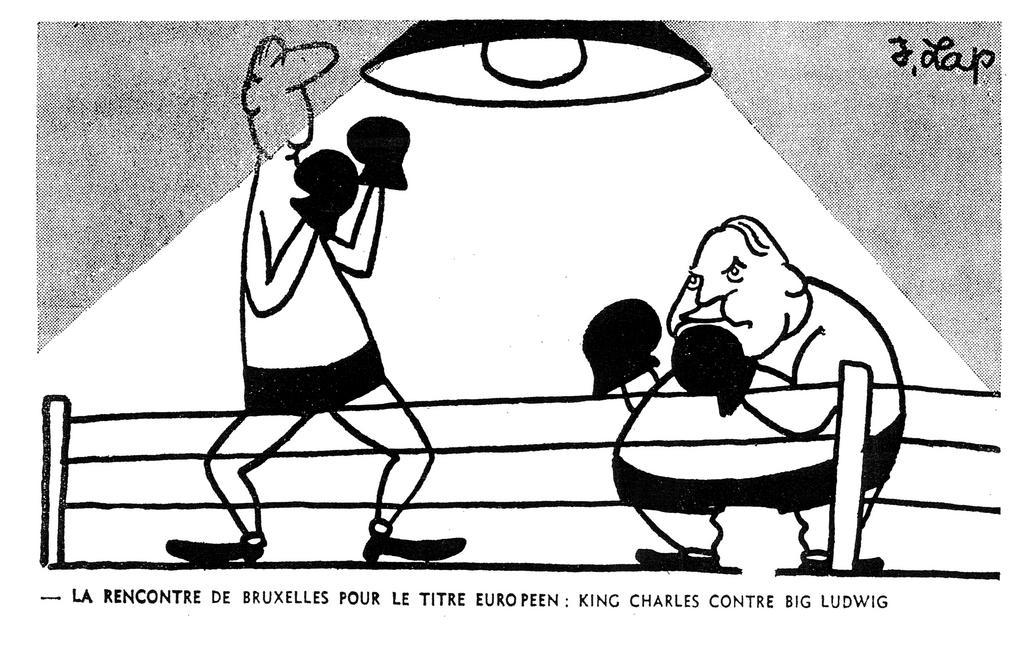 Cartoon by Lap on the opposition between Charles de Gaulle and Ludwig Erhard over the common agricultural market (12 December 1963)