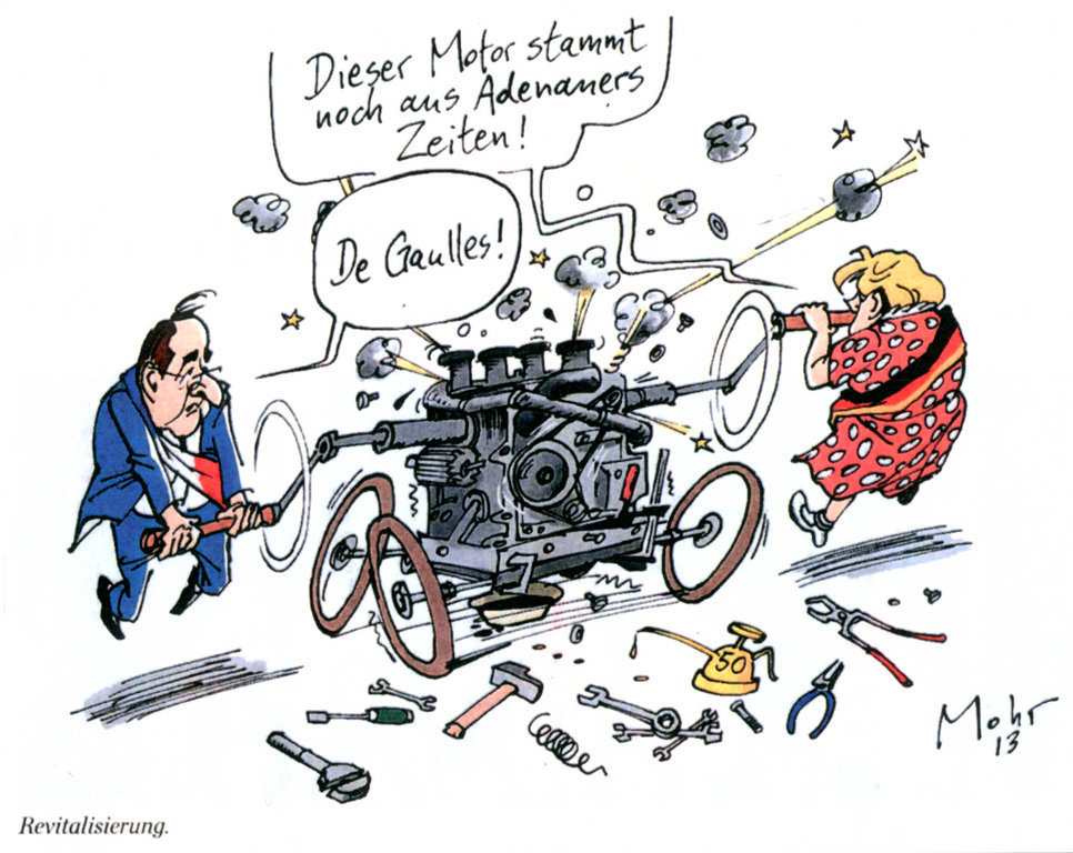 Cartoon by Mohr on the revitalisation of the Franco-German duo (23 January 2013)
