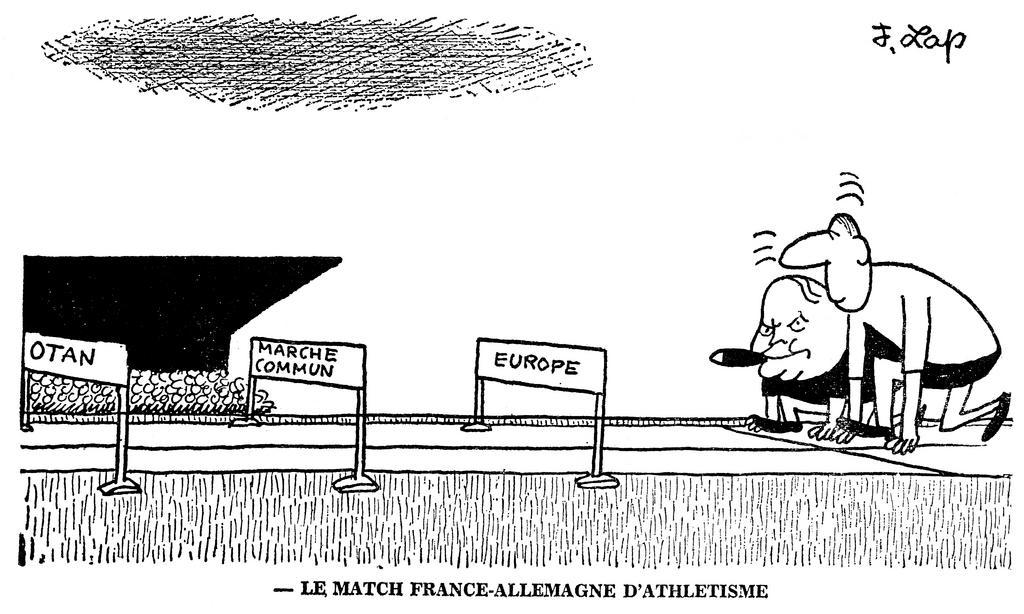 Cartoon by Lap on the issues surrounding the Franco-German summit (15 February 1964)