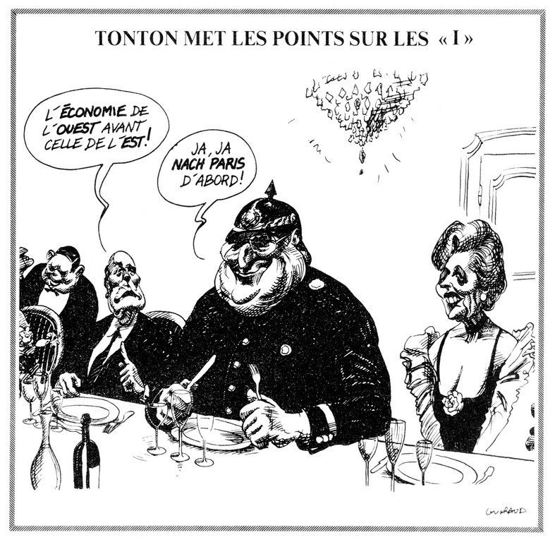 Cartoon by Guiraud on the question of German reunification (22 November 1989)