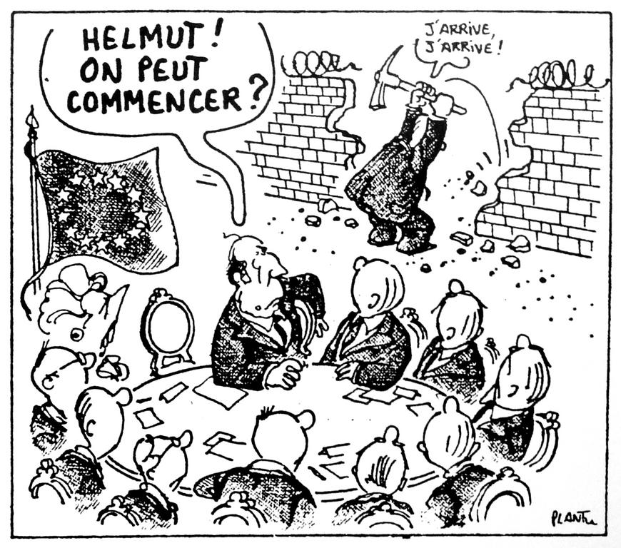 Cartoon by Plantu on the consequences of the fall of the Berlin Wall (9 December 1989)