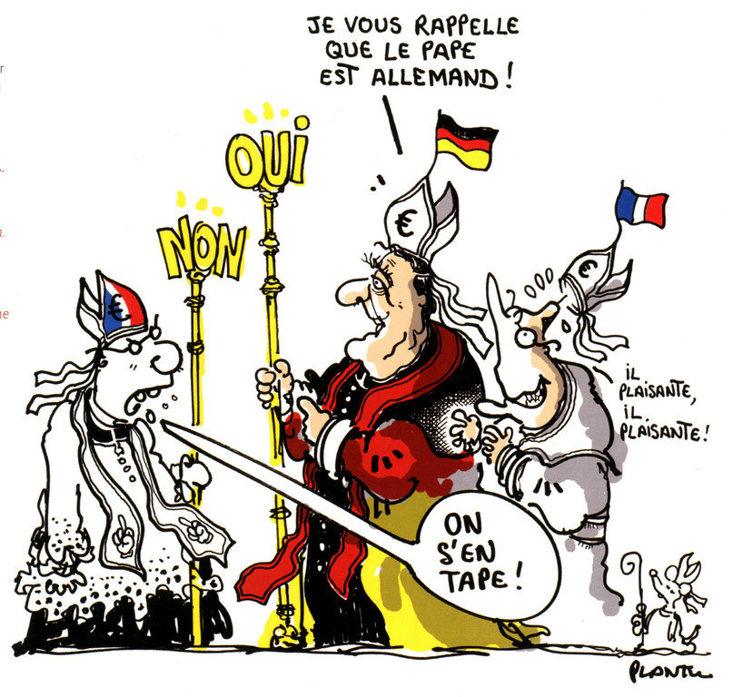 Cartoon by Plantu on the Franco-German duo and the European Constitutional Treaty (27 April 2005)