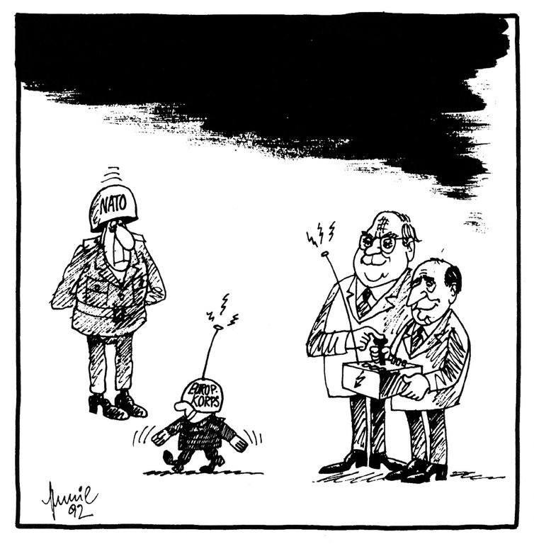 Cartoon by Mussil on the establishment of the Eurocorps (22 May 1992)
