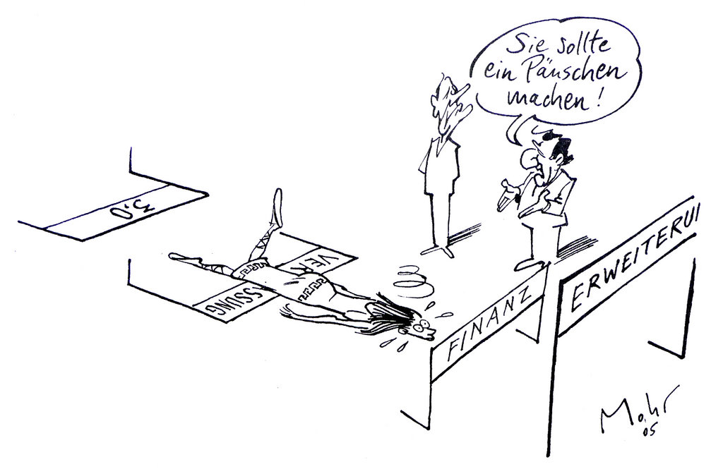 Cartoon by Mohr on the consequences of the failure of the European Constitutional Treaty (20 June 2005)