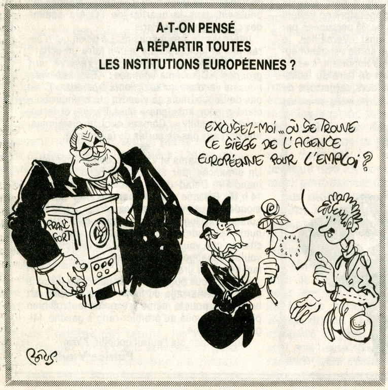 Cartoon by Potus on the question of the seat of the European Central Bank (3 November 1993)