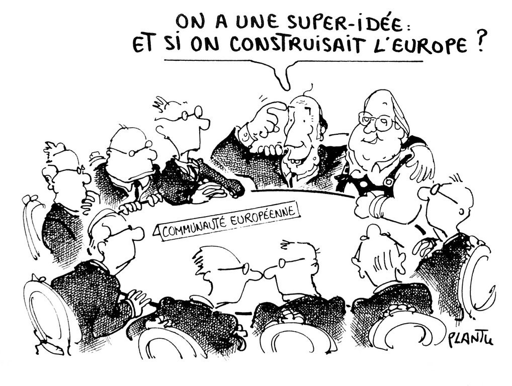 Cartoon by Plantu on the Franco-German plan for a European union (29 June 1985)