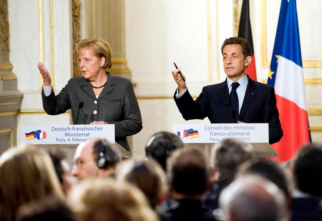 Joint press conference held by Angela Merkel and Nicolas Sarkozy at the Élysée Palace (4 February 2010)