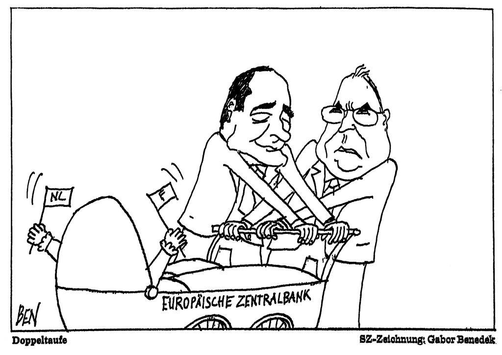 Cartoon by Benedek on the question of the Presidency of the European Central Bank (5 May 1998)