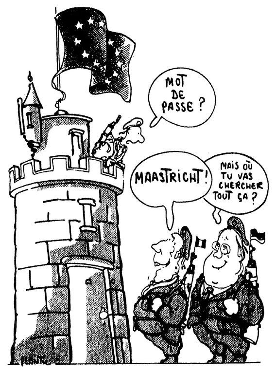Cartoon by Plantu on the creation of a Franco-German army corps (21 May 1992)