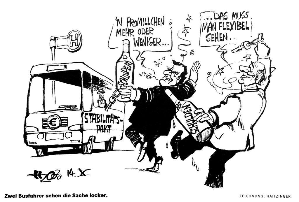 Cartoon by Haitzinger on the issues surrounding the stability pact (14 October 2003)