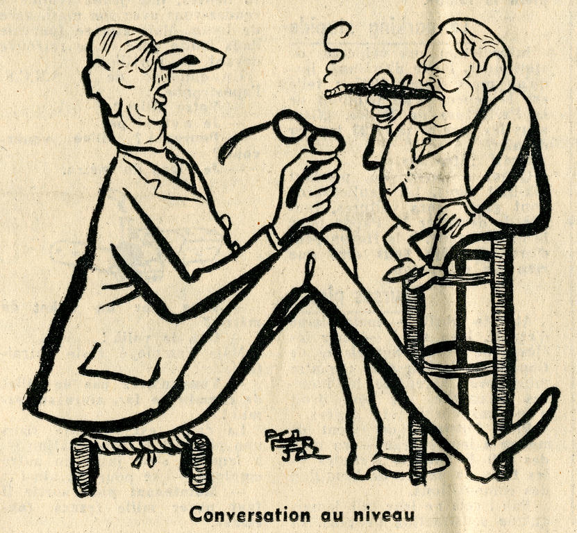 Cartoon by Ferjac on the power relationship between France and Germany (9 February 1966)