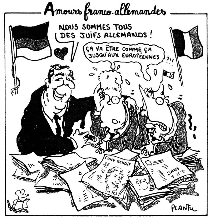 Cartoon by Plantu on the new Franco-German relationship (1 December 1998)