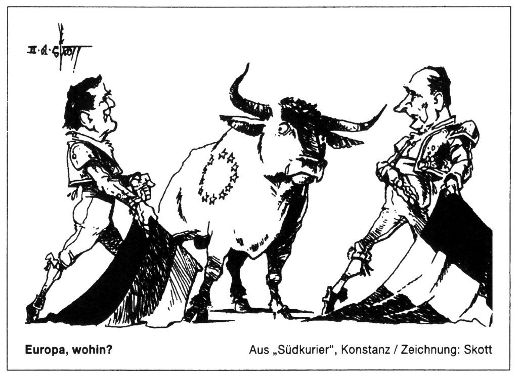 Cartoon by Skott on the question of leadership within the EU (5 February 2001)