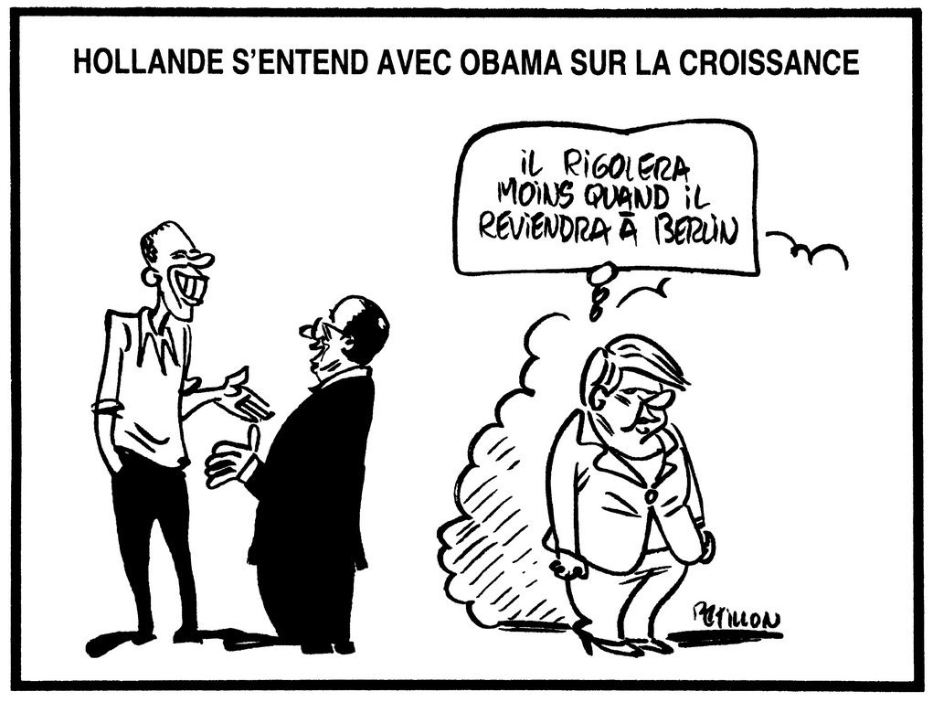 Cartoon by Pétillon on the Hollande–Merkel duo and the question of boosting growth (23 May 2012)