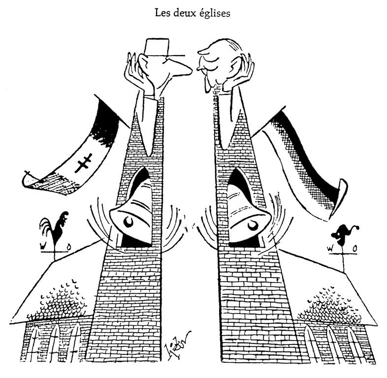 Cartoon by Hicks on the meeting between de Gaulle and Adenauer in Colombey-les-deux-Églises (16 September 1958)