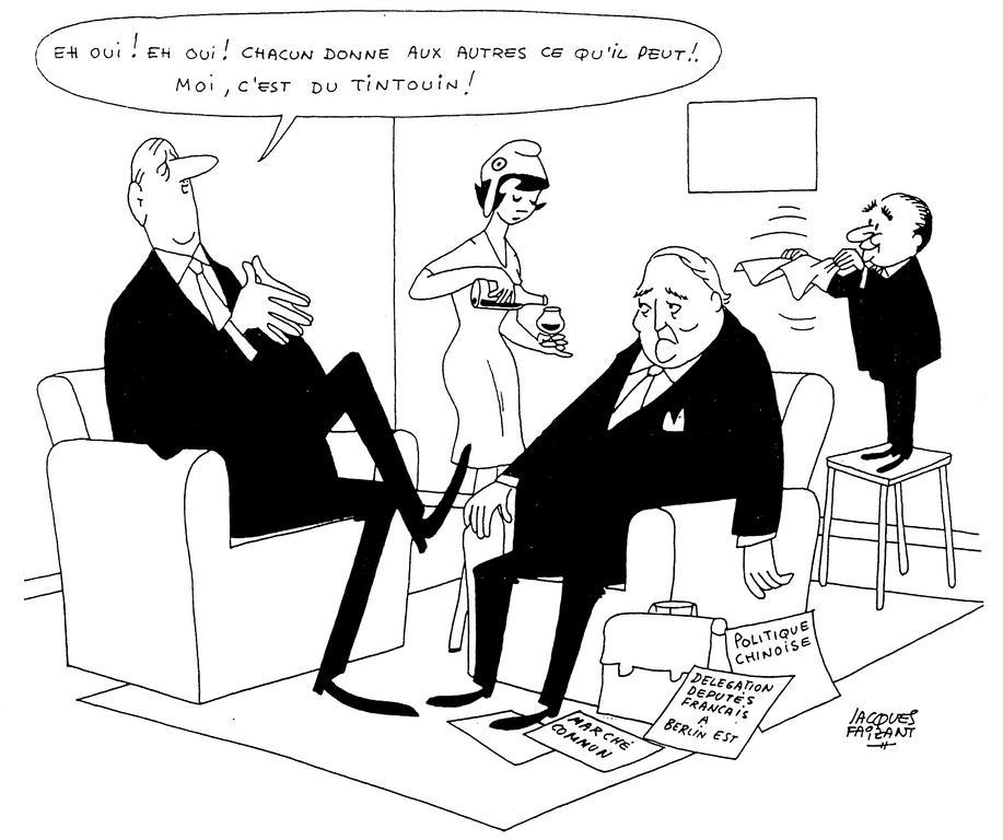 Cartoon by Faizant on the differences of opinion between France and Germany (15 February 1964)