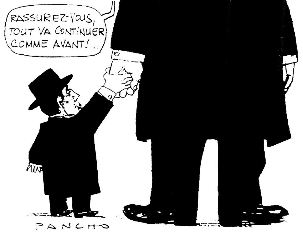 Cartoon by Pancho on the consequences of a possible German reunification (14 October 1989)