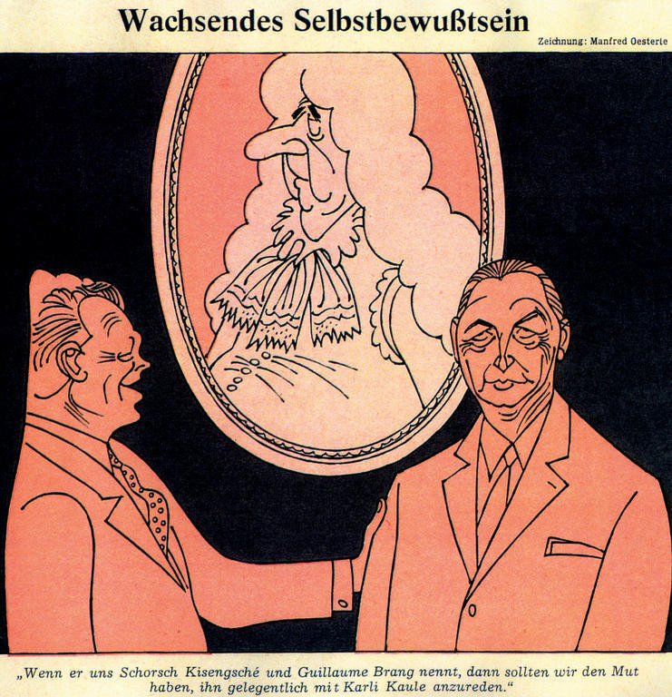 Cartoon by Oesterle on the relations between Kiesinger and de Gaulle (11 March 1967)