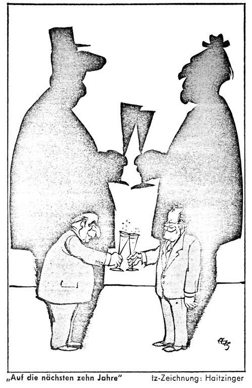 Cartoon by Haitzinger on ten years of Franco-German cooperation (23 January 1973)