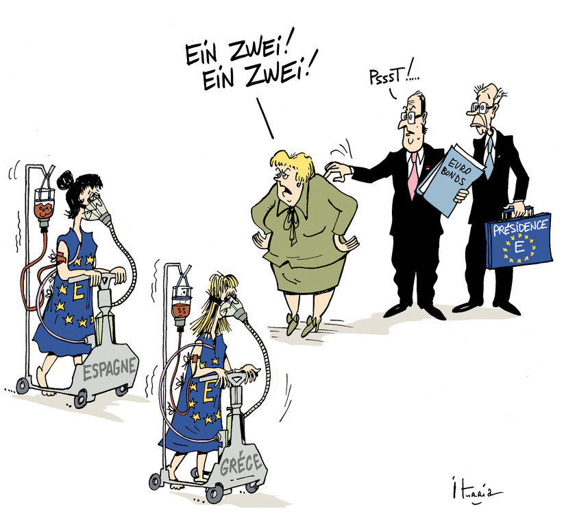 Cartoon by Iturria on the efforts to counter the debt crisis in the euro zone (24 May 2012)