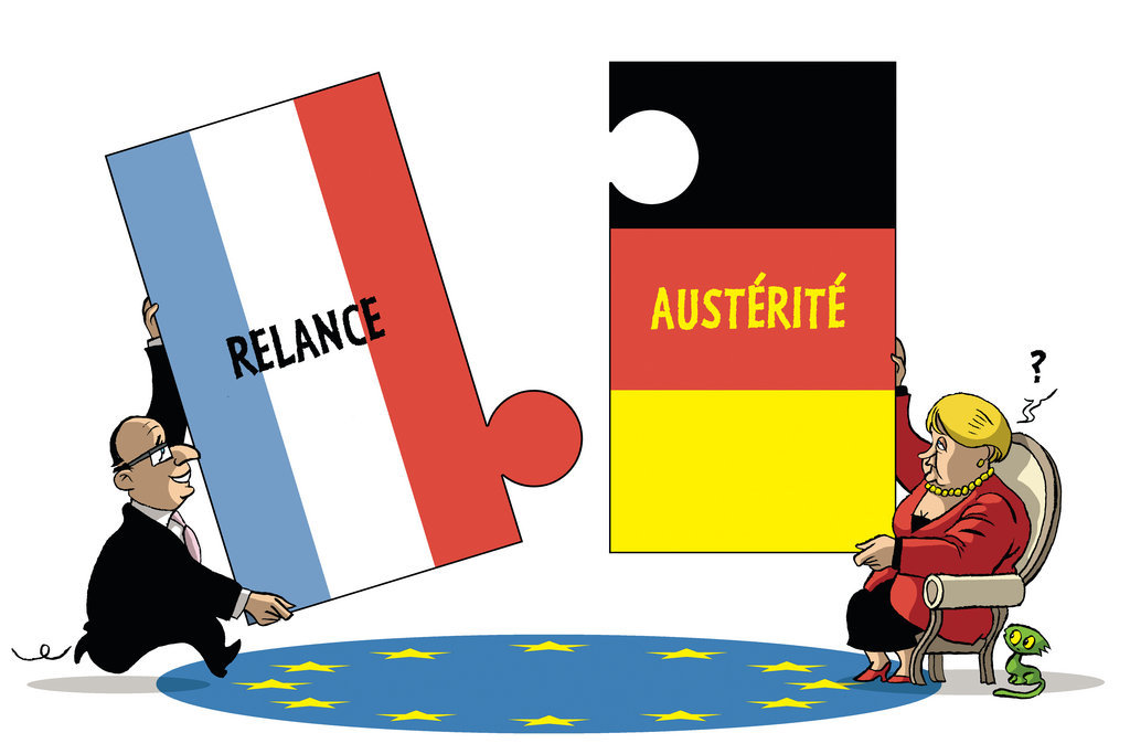 Cartoon by Vadot on the Franco-German duo and the euro zone crisis (22 May 2012)
