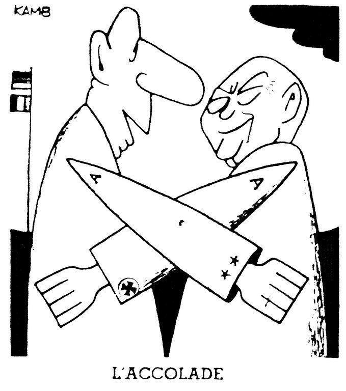 Cartoon by Kamb on the Élysée Treaty (22 January 1963)